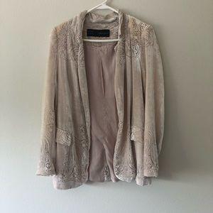 Zara Pink Velvet Unique Printed Blazer